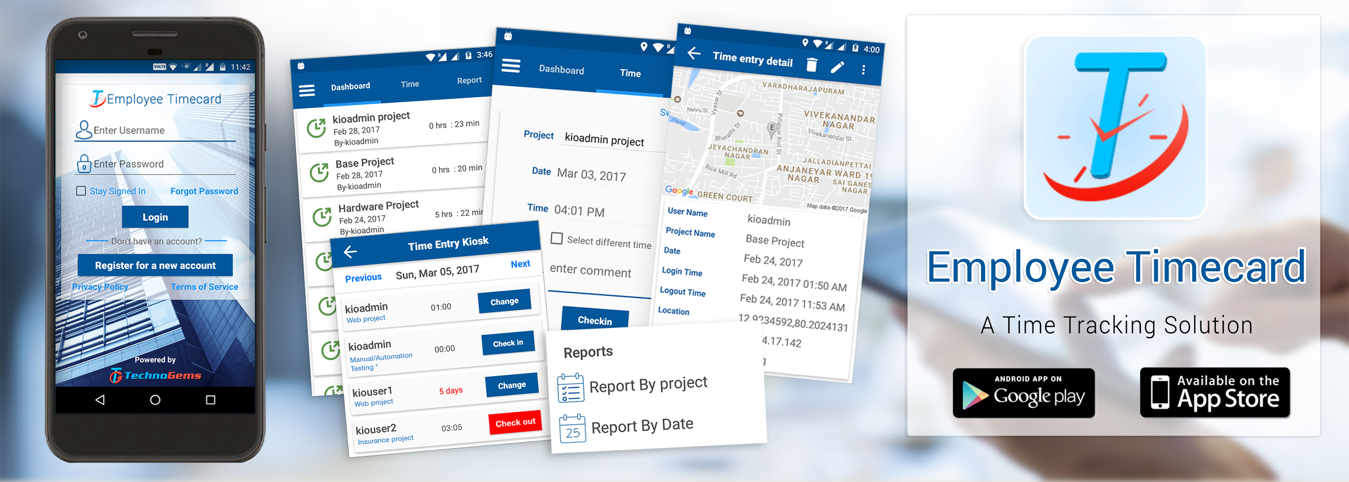 employee timecard is the perfect solution for small businesses with employees that work out and about providing services and support to your customers - Time Card App For Android